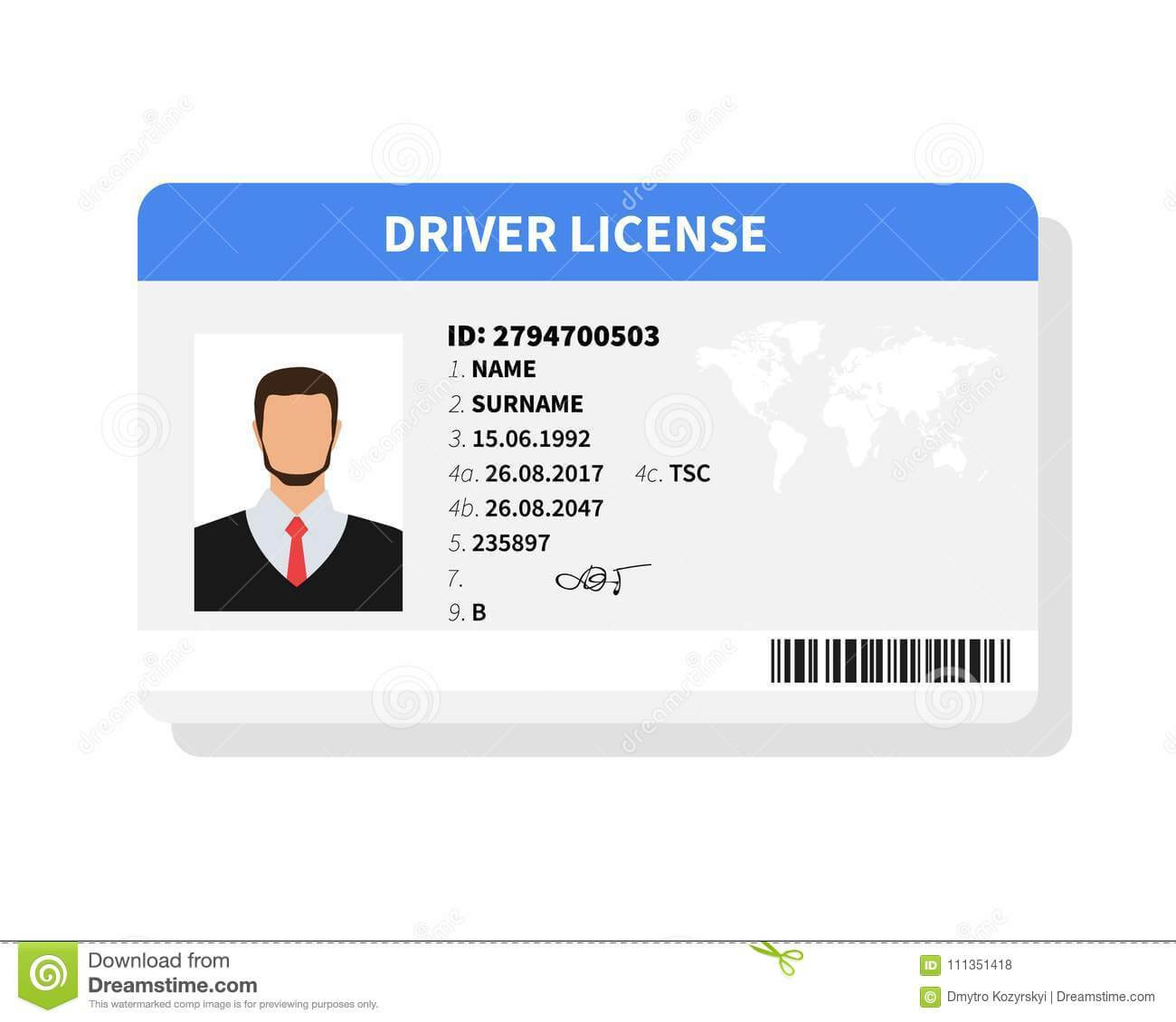 Flat Man Driver License Plastic Card Template Inside Personal Identification Card Template