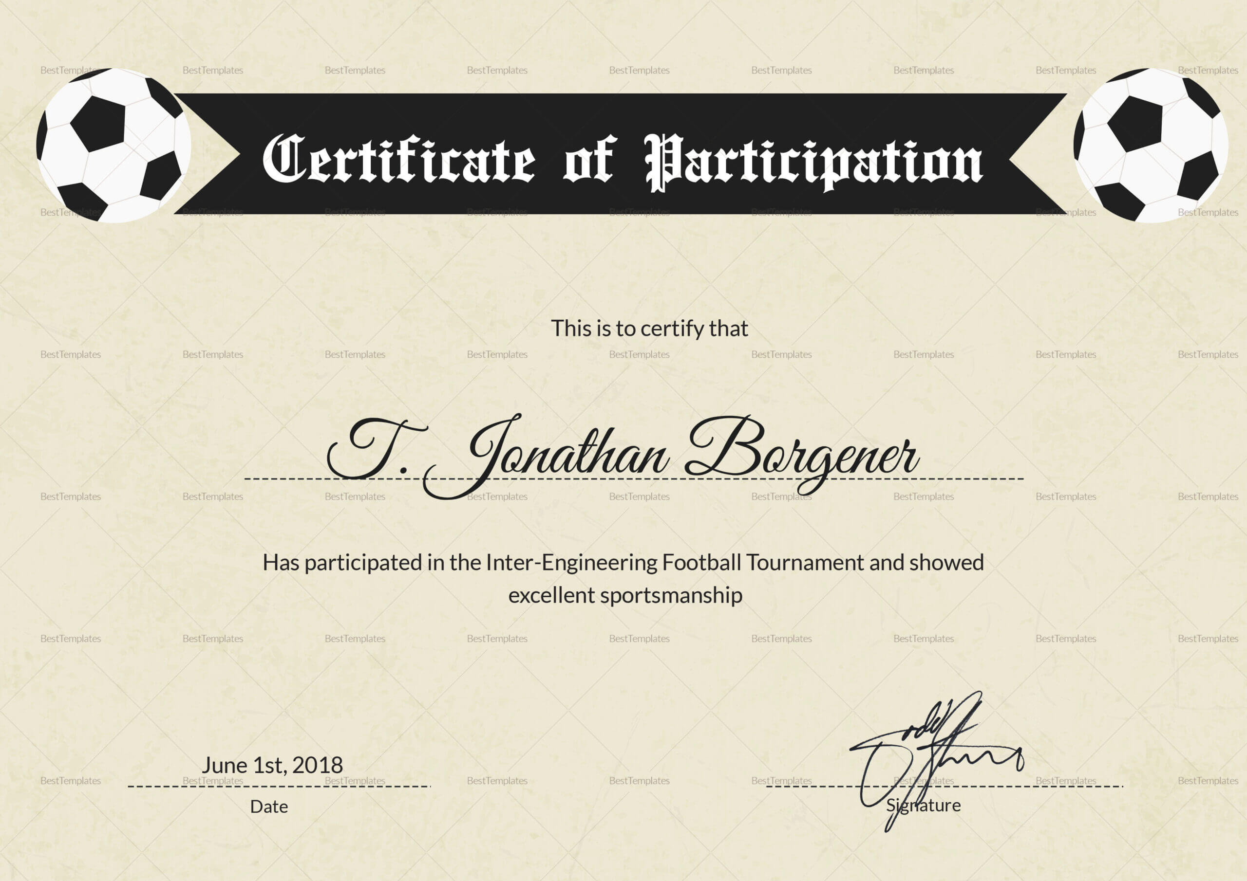 Football Certificate Of Participation - Calep.midnightpig.co For Football Certificate Template