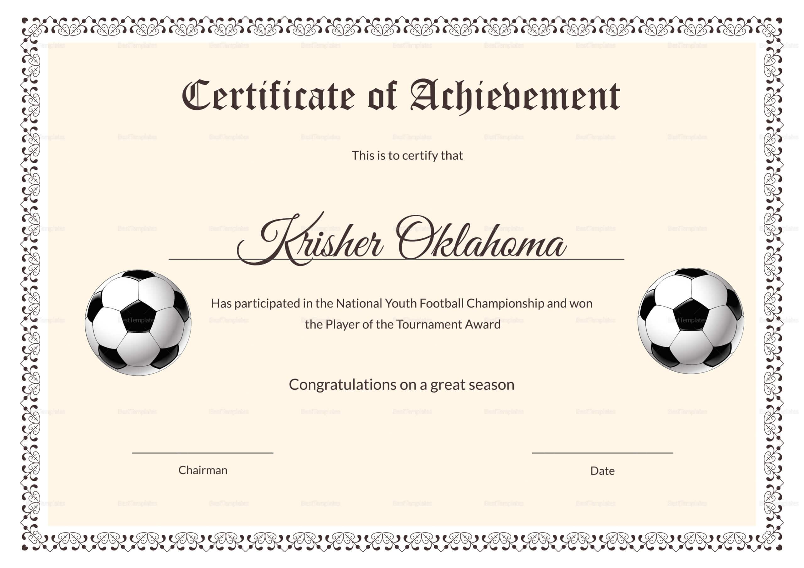Football Certificate Template - Calep.midnightpig.co With Football Certificate Template