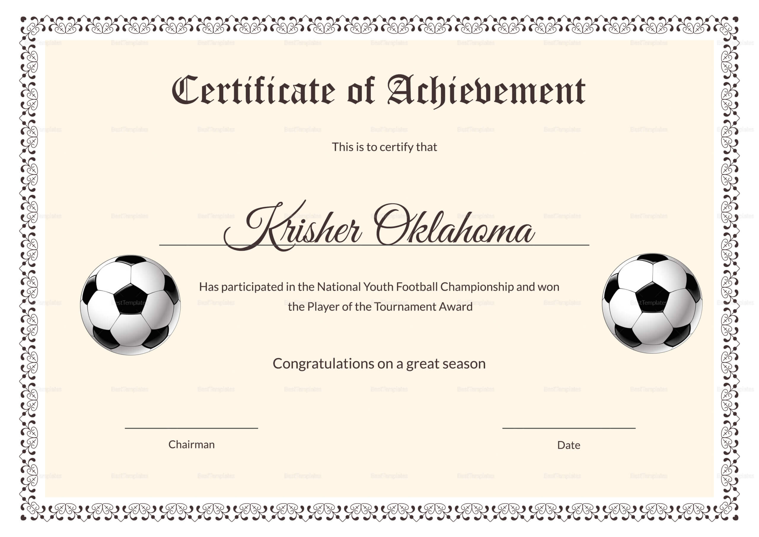 Football Certificate Template - Calep.midnightpig.co With Player Of The Day Certificate Template