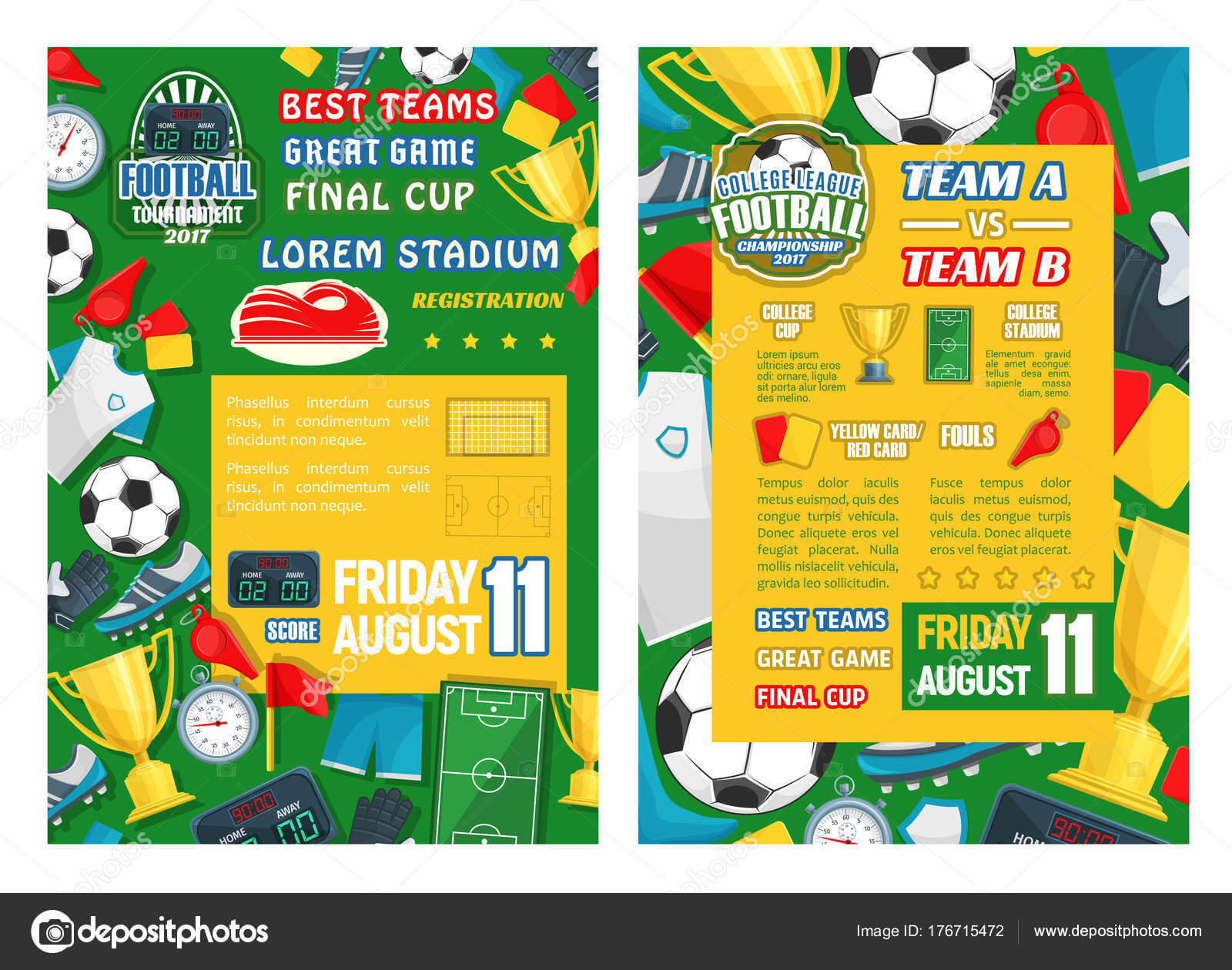 Football Or Soccer Sport Tournament Match Banner — Stock Throughout Soccer Referee Game Card Template