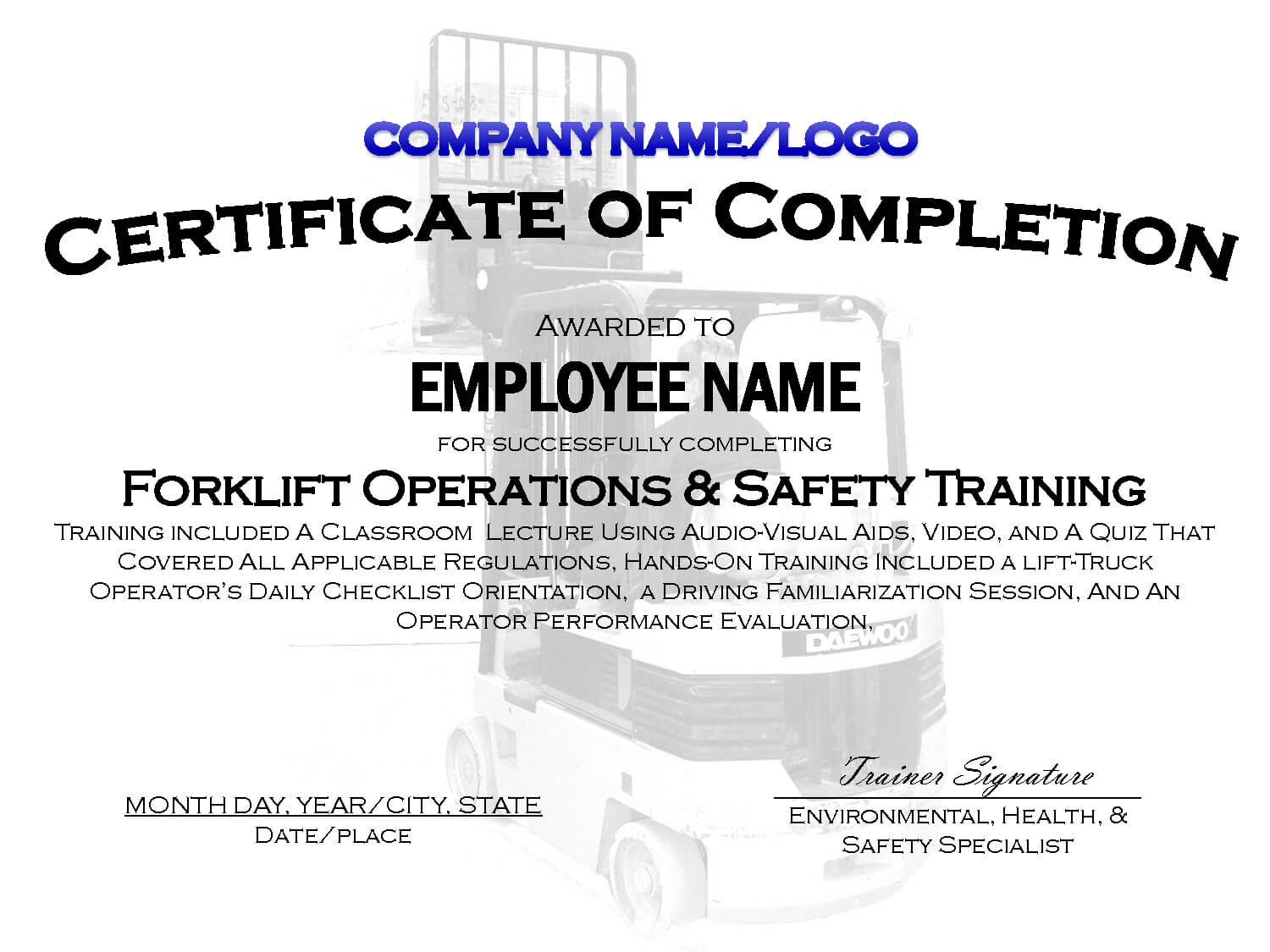 template certification certificate training forklift printable osha safety wallet license truck templates certificates calep midnightpig award lifetime achievement pertaining sybernews