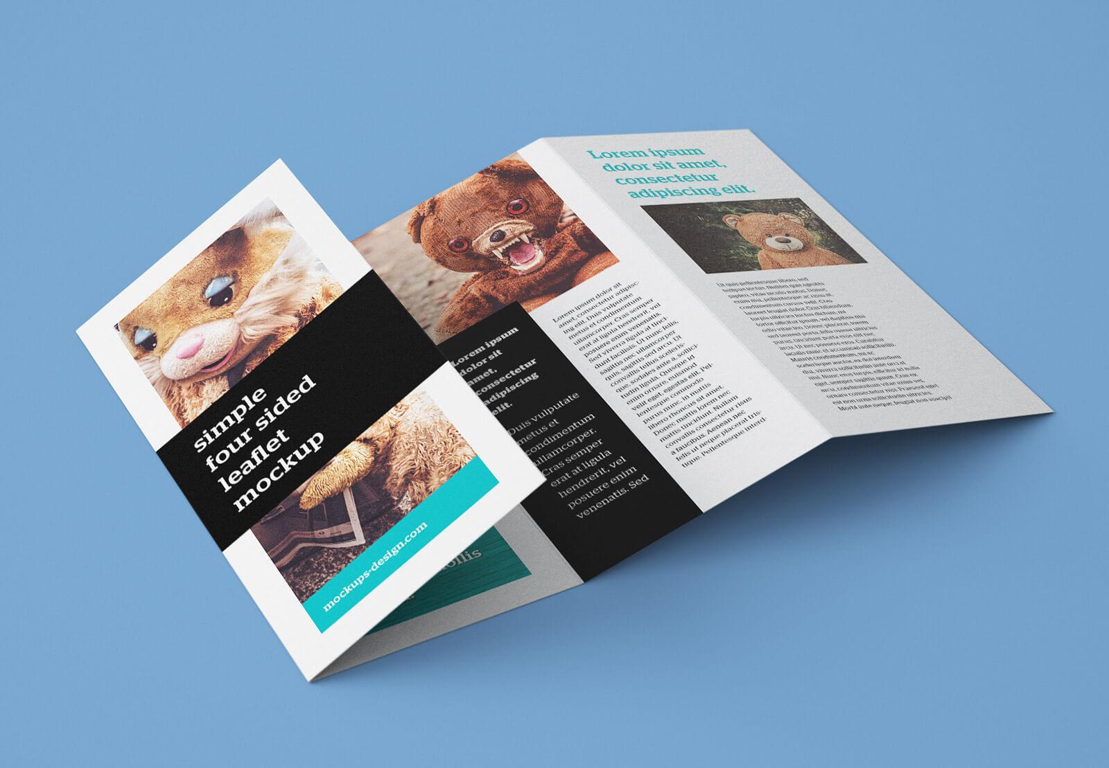 Free Accordion 4 Fold Brochure / Leaflet Mockup Psd With 4 Fold Brochure Template