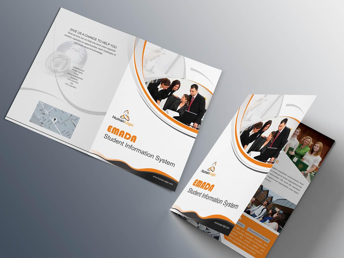 Free Bi Fold Brochure Psd On Behance Within Two Fold Brochure Template Psd