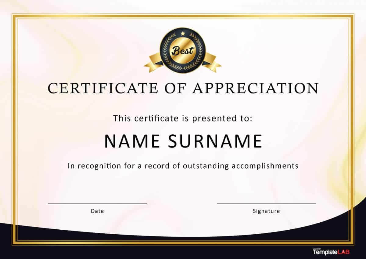 Free Certificate Of Appreciation Templates For Word – Calep Pertaining To Army Certificate Of Appreciation Template