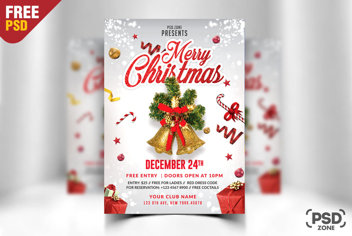Free Christmas Flyer Psd – Calep.midnightpig.co In Christmas Brochure Templates Free
