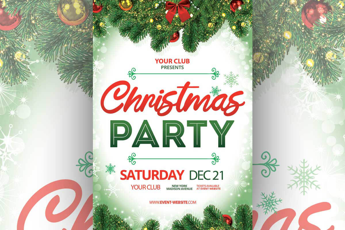 Free Christmas Party Flyer Template - Creativetacos For Christmas Brochure Templates Free