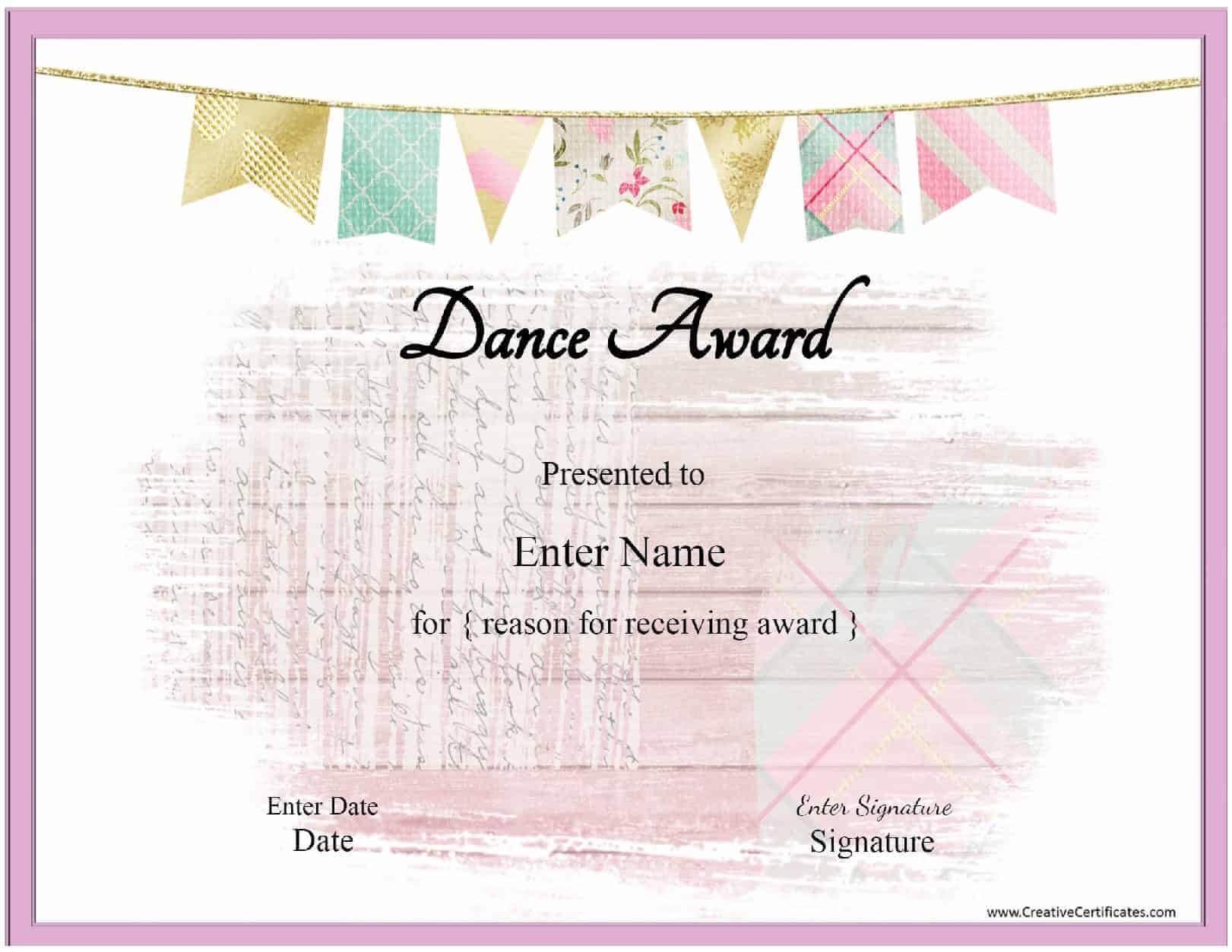 Free Dance Certificate Template - Customizable And Printable With Dance Certificate Template