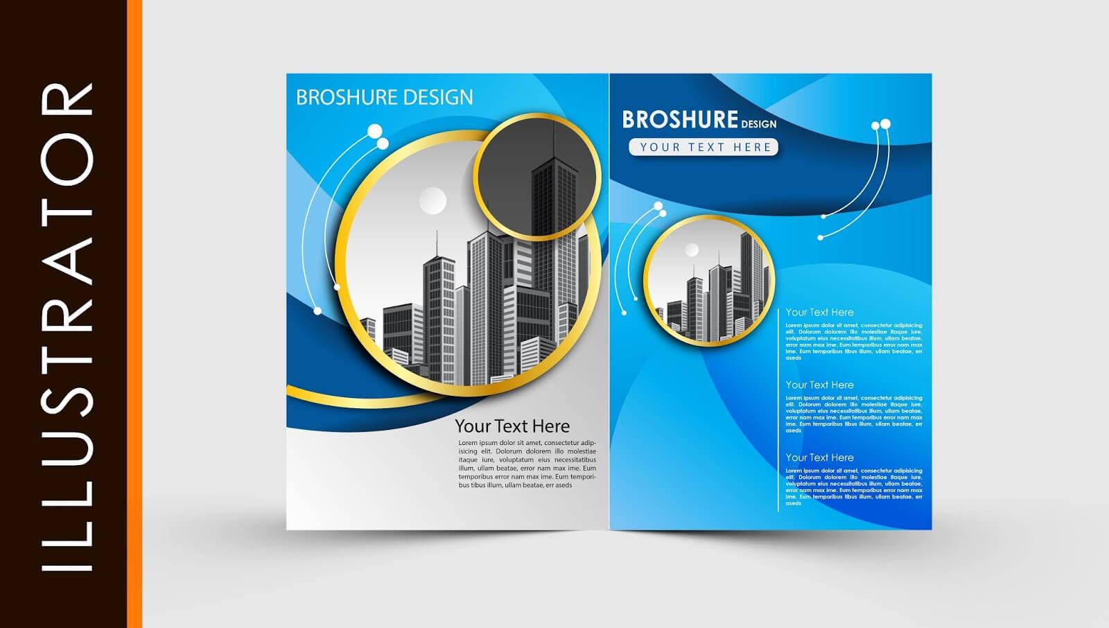 Free Download Adobe Illustrator Template Brochure Two Fold Throughout Brochure Template Illustrator Free Download