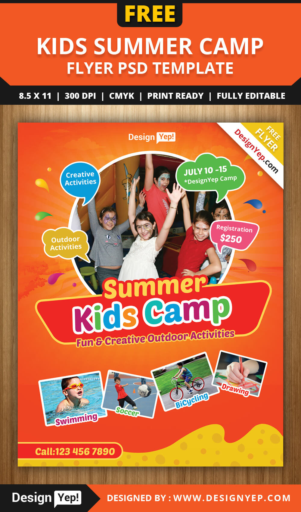 Free Kids Summer Camp Flyer Psd Template On Behance Throughout Summer Camp Brochure Template Free Download