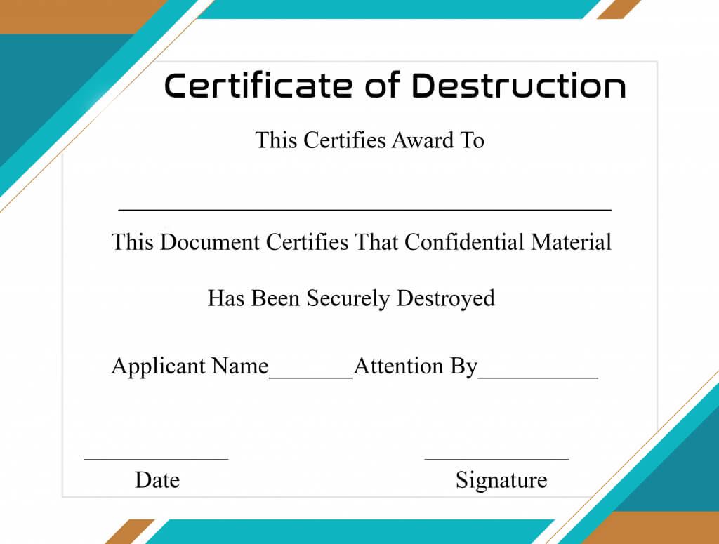 Free Printable Certificate Of Destruction Sample Pertaining To Destruction Certificate Template