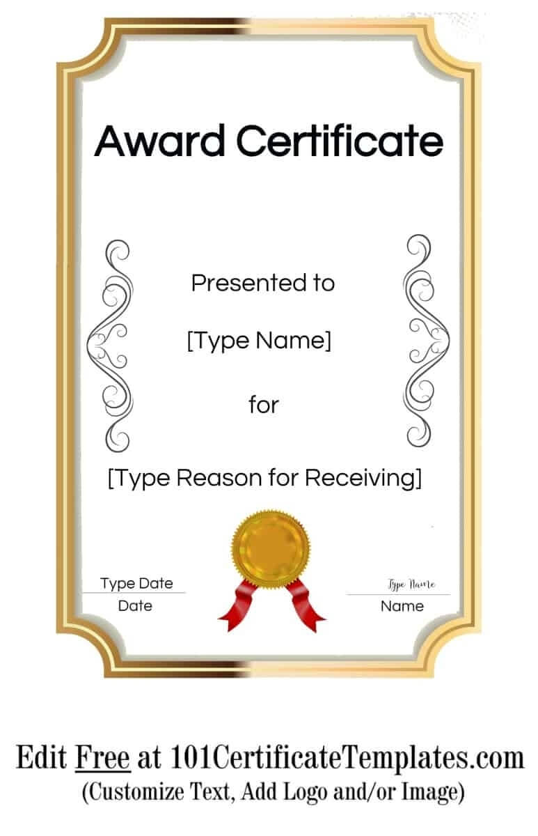 Free Printable Certificate Templates | Customize Online With Inside Free Printable Blank Award Certificate Templates