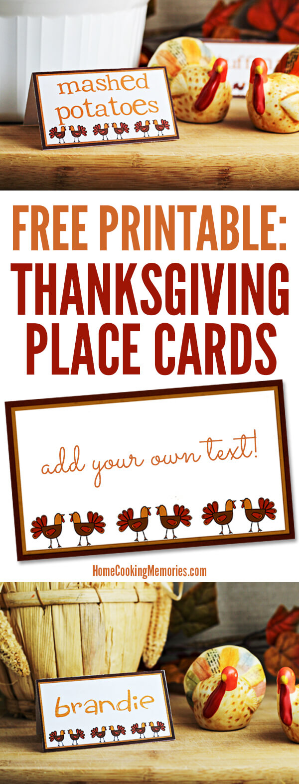 Free Printables: Thanksgiving Place Cards - Home Cooking Pertaining To Thanksgiving Place Cards Template