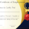 Free Sample Certificate Of Employment Template | Certificate Regarding Sample Certificate Employment Template