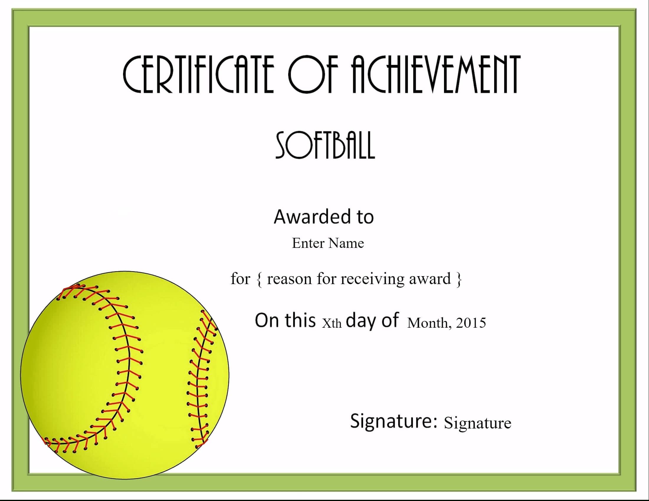 Free Softball Certificate Templates - Customize Online For Softball Certificate Templates Free