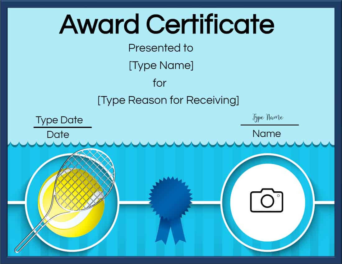 Free Tennis Certificates | Edit Online And Print At Home Throughout Free Printable Certificate Templates For Kids