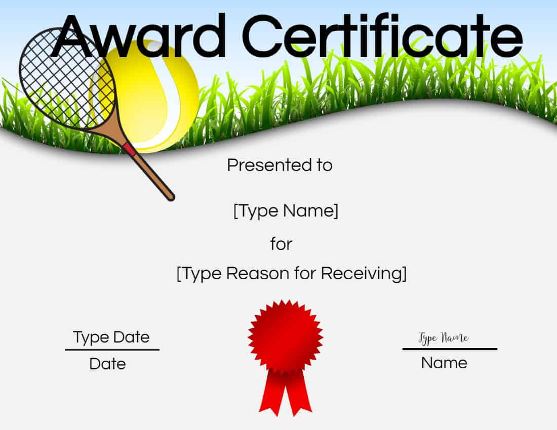 Free Tennis Certificates   Edit Online And Print At Home Within Tennis Certificate Template Free