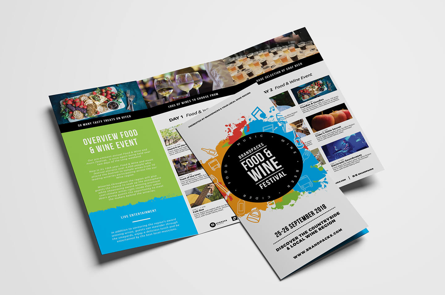 Free Tri Fold Brochure Template For Events & Festivals - Psd Regarding Tri Fold Brochure Template Illustrator Free