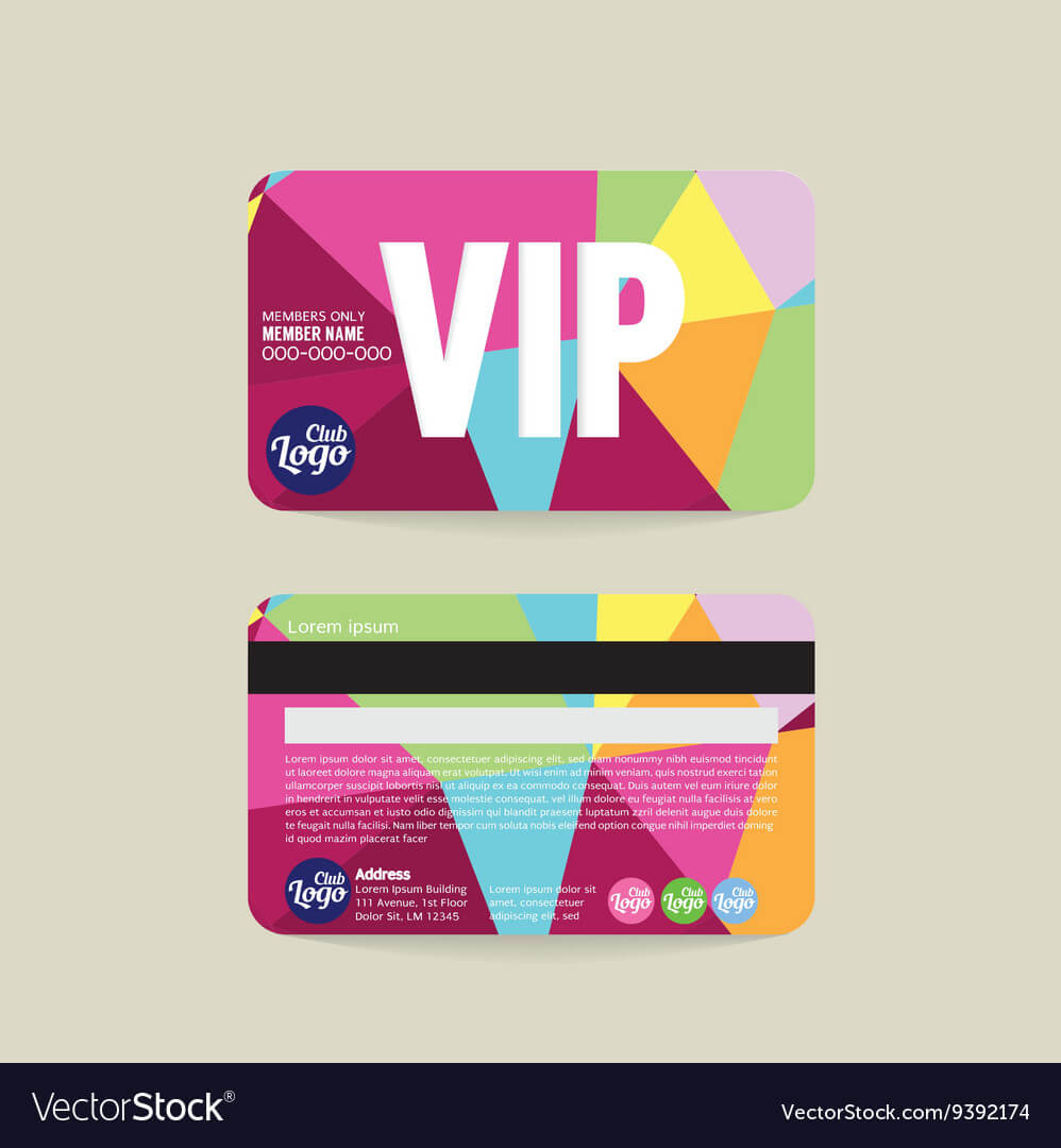Front And Back Vip Member Card Template For Template For Membership Cards