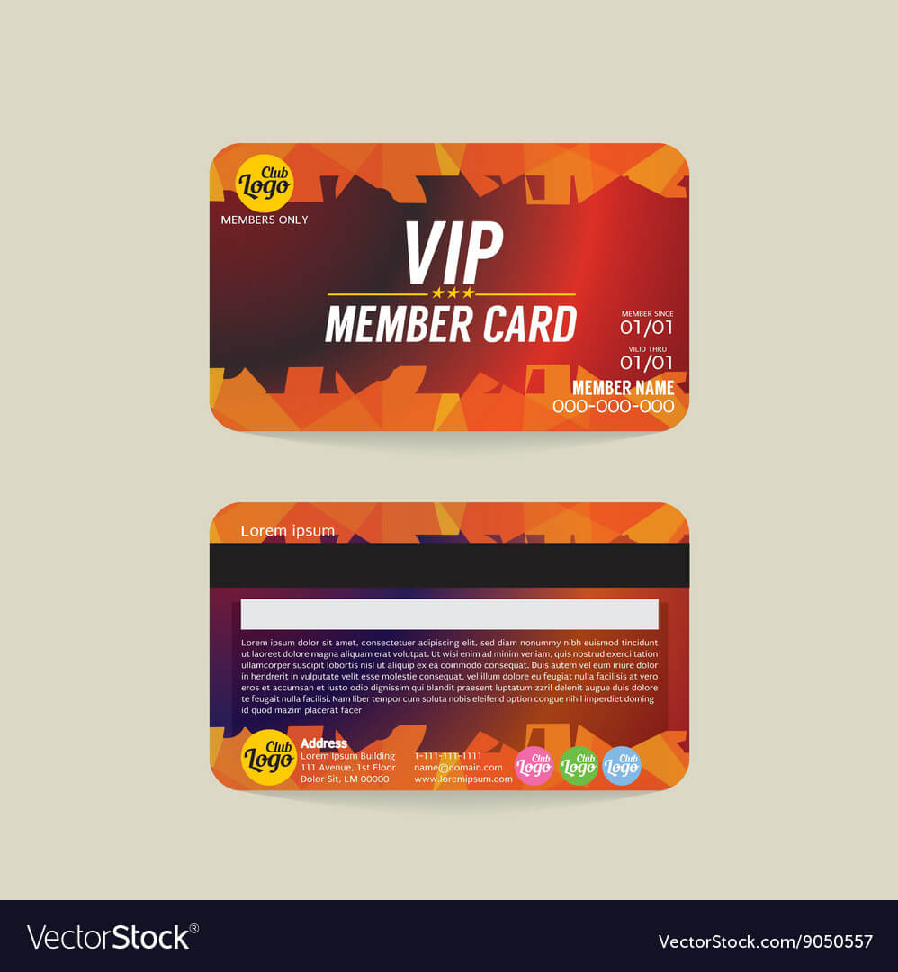 Front And Back Vip Member Card Template With Regard To Template For Membership Cards