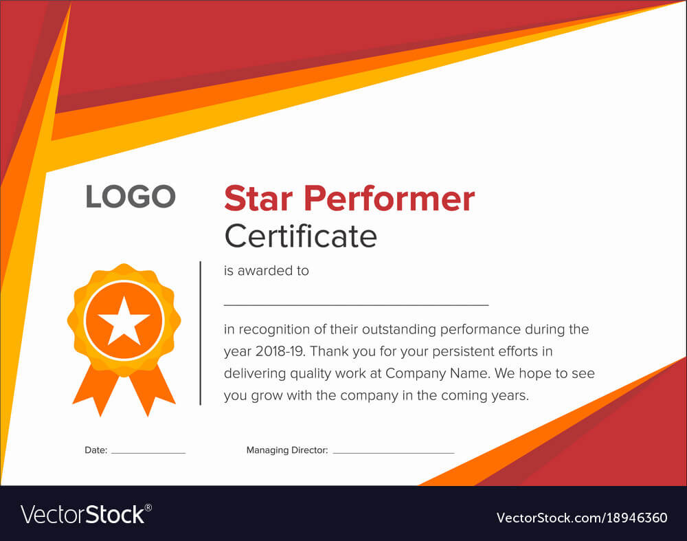 Geometric Red And Gold Star Performer Certificate Regarding Star Performer Certificate Templates