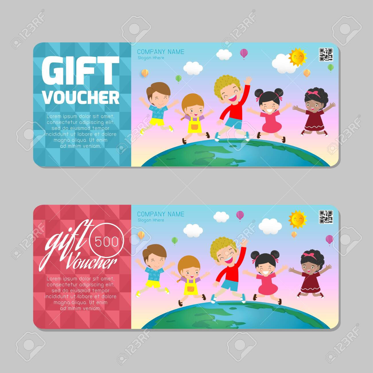 Gift Voucher Template With Colorful Pattern,cute Gift Voucher.. For Kids Gift Certificate Template
