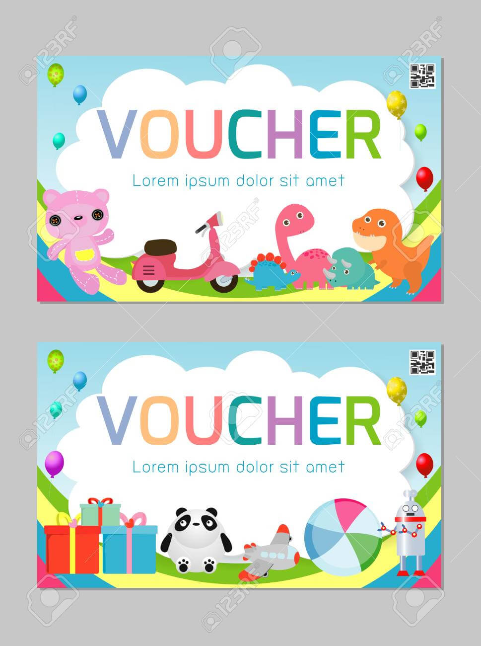 Gift Voucher Template With Colorful Pattern,cute Gift Voucher.. Pertaining To Kids Gift Certificate Template