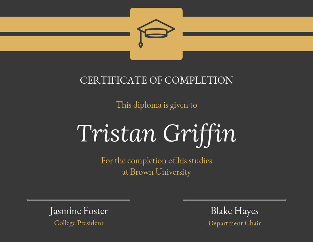 Gold Dark Certificate Of Completion Template With Regard To Hayes Certificate Templates