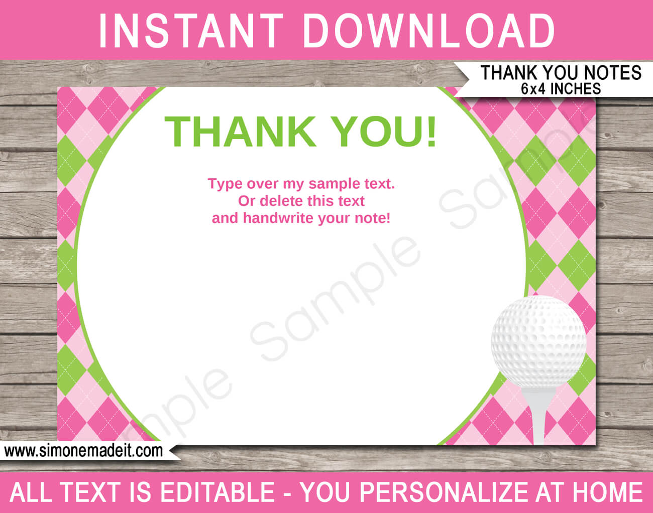 Golf Birthday Party Thank You Cards Template – Pink/green In Thank You Note Cards Template