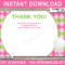 Golf Birthday Party Thank You Cards Template – Pink/green With Regard To Thank You Note Card Template