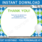 Golf Party Thank You Cards Template – Blue/green For Thank You Note Card Template