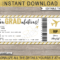 Graduation Gift Boarding Pass For Graduation Gift Certificate Template Free