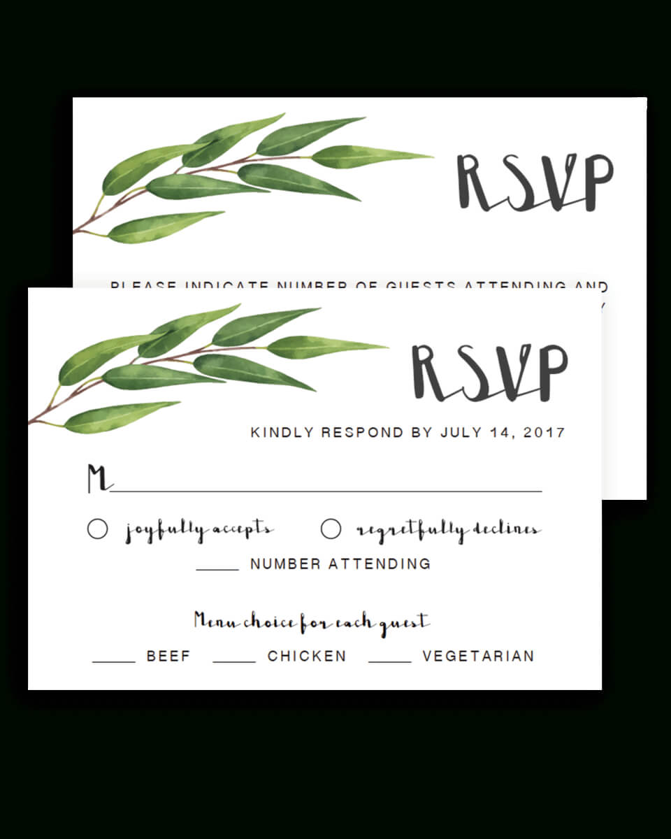 Greenery Wedding Rsvp Cards Template – Re1 Within Template For Rsvp Cards For Wedding