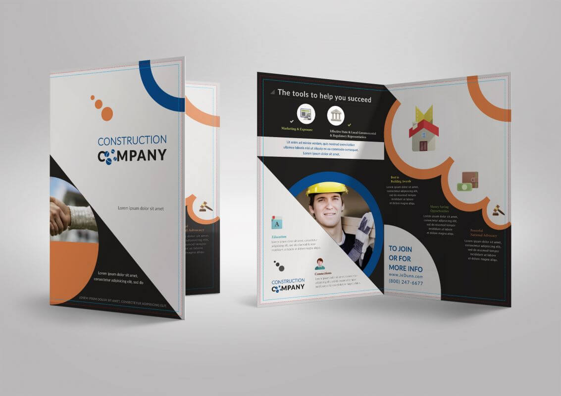 Half Fold Brochure Template For Construction Company Throughout Half Page Brochure Template