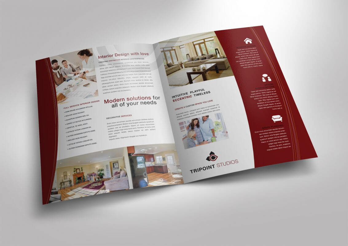 Half Fold Brochure Template For Design Company Marketing Throughout Half Page Brochure Template