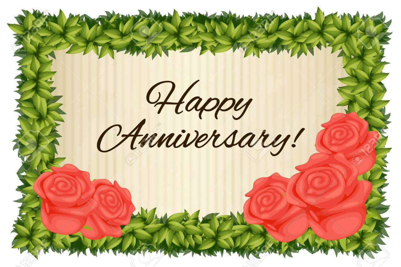 Happy Anniversary Card Template With Red Roses Illustration Regarding Word Anniversary Card Template