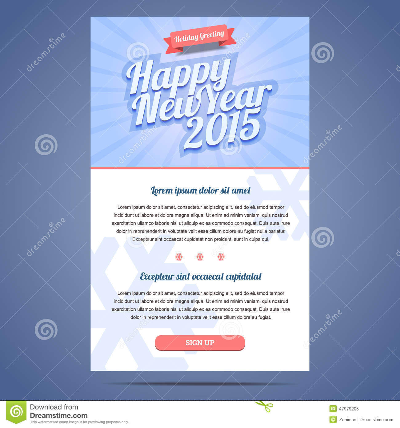 Happy New Year Holiday Greeting Email Template Stock Vector Within Holiday Card Email Template