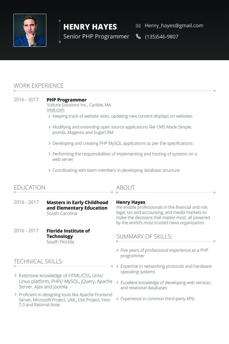 Henry Hayes - Web Developer Resume Template #64898 With Hayes Certificate Templates