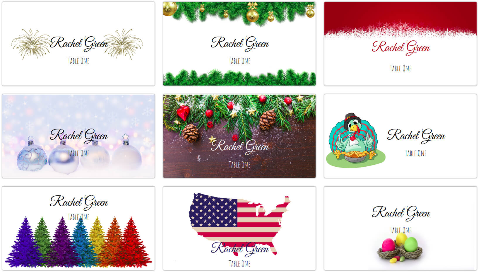 Holiday Place Cards - Calep.midnightpig.co Within Christmas Table Place Cards Template