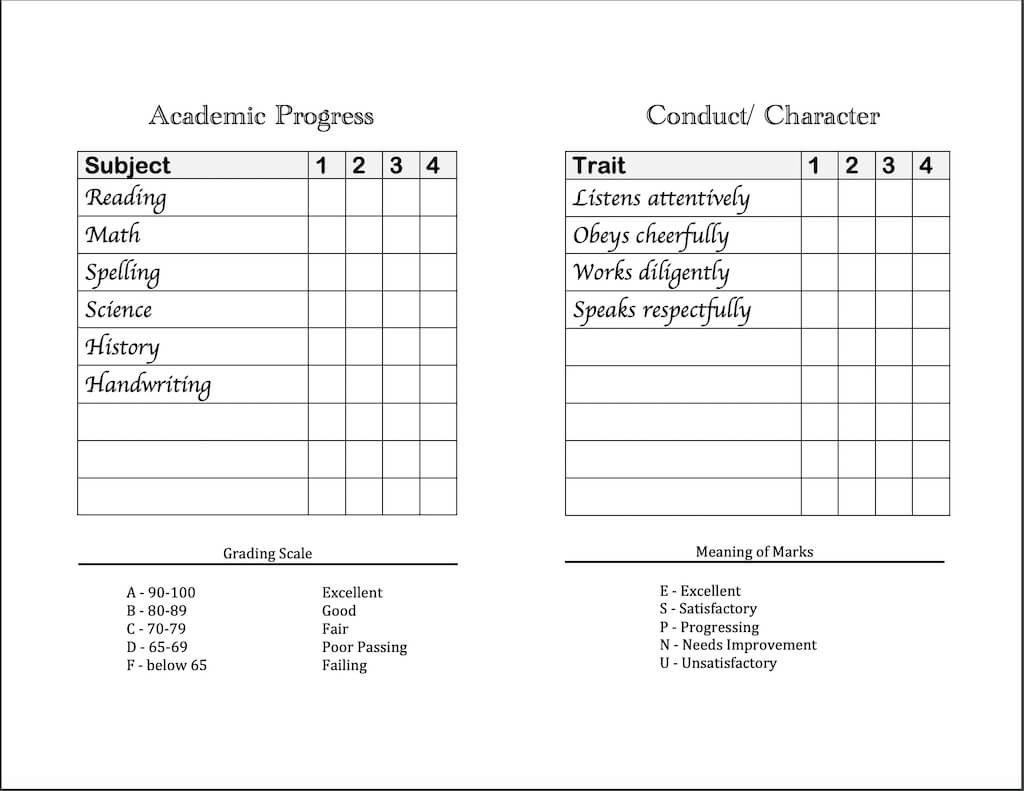 Homeschool Report Cards - Flanders Family Homelife Intended For Character Report Card Template