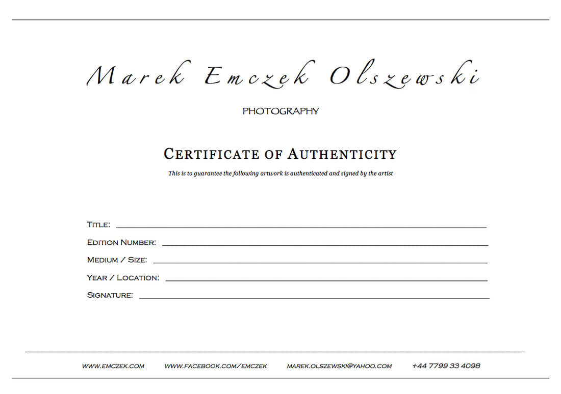 How To Create A Certificate Of Authenticity For Your Photography With Certificate Of Authenticity Photography Template