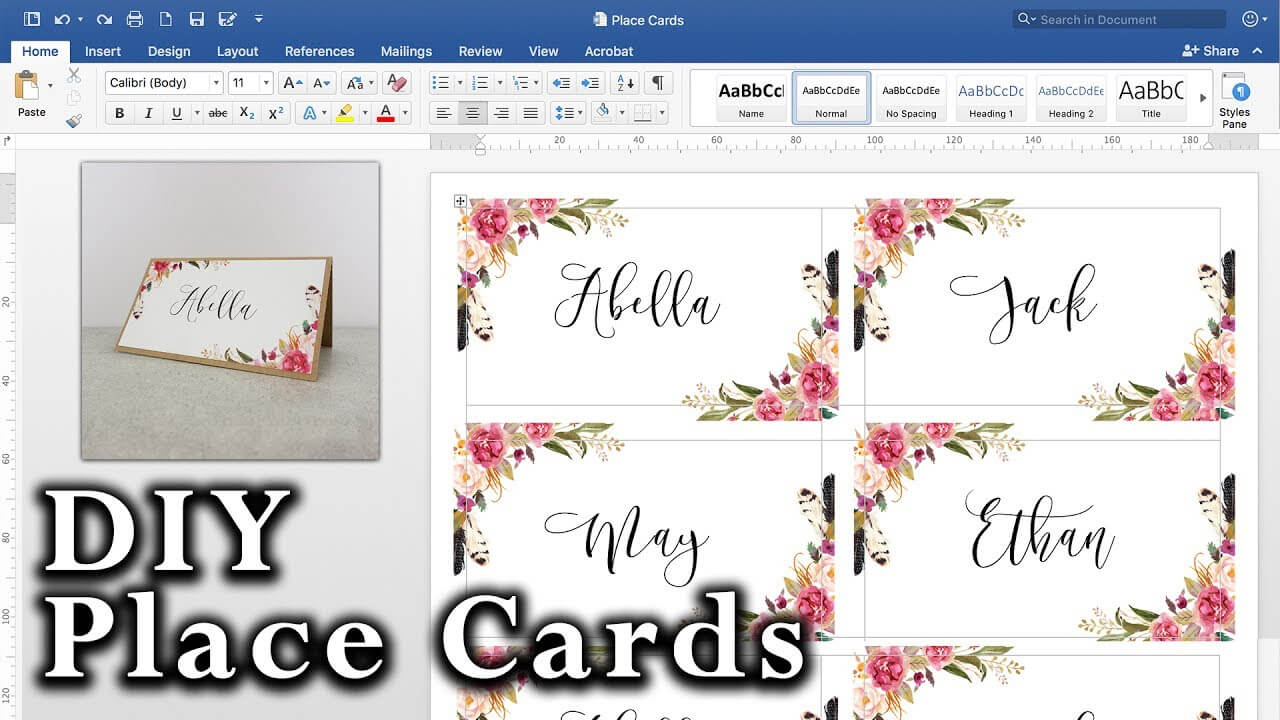 How To Make Diy Place Cards With Mail Merge In Ms Word And Adobe Illustrator For Table Name Cards Template Free