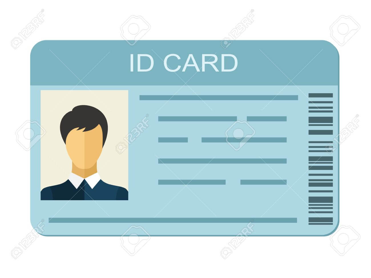 Id Card Isolated On White Background. Identification Card Icon Inside Personal Identification Card Template