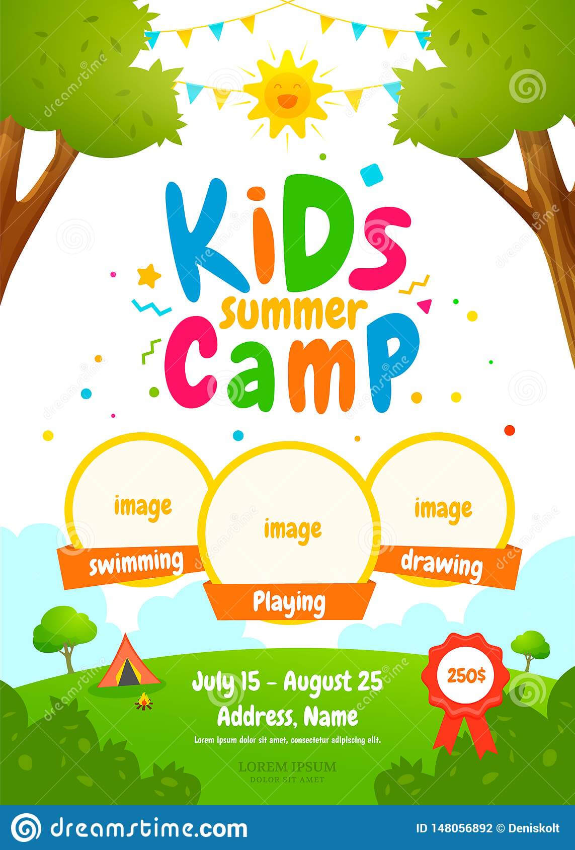 Kids Summer Camp Poster Stock Vector. Illustration Of Family In Summer Camp Brochure Template Free Download