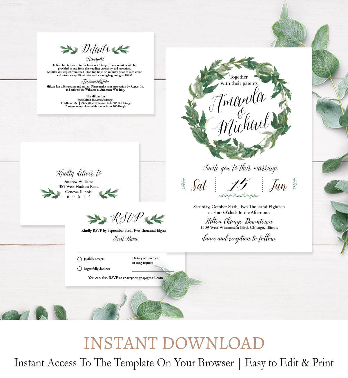 Laurel Wreath Wedding Invitation Suite, Rsvp Details Card Printable  Template C2 In Template For Rsvp Cards For Wedding