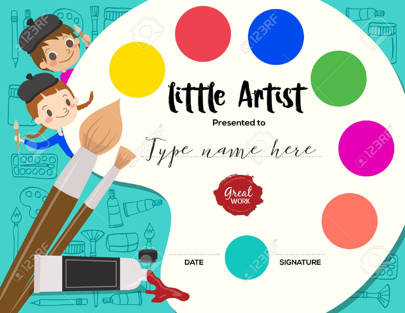 Little Artist, Kids Diploma Child Painting Course Certificate.. In Free Art Certificate Templates