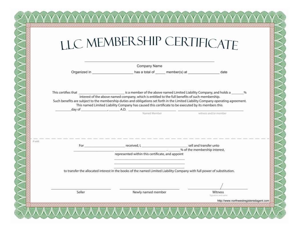 Llc Membership Certificate - Free Template For Ownership Certificate Template