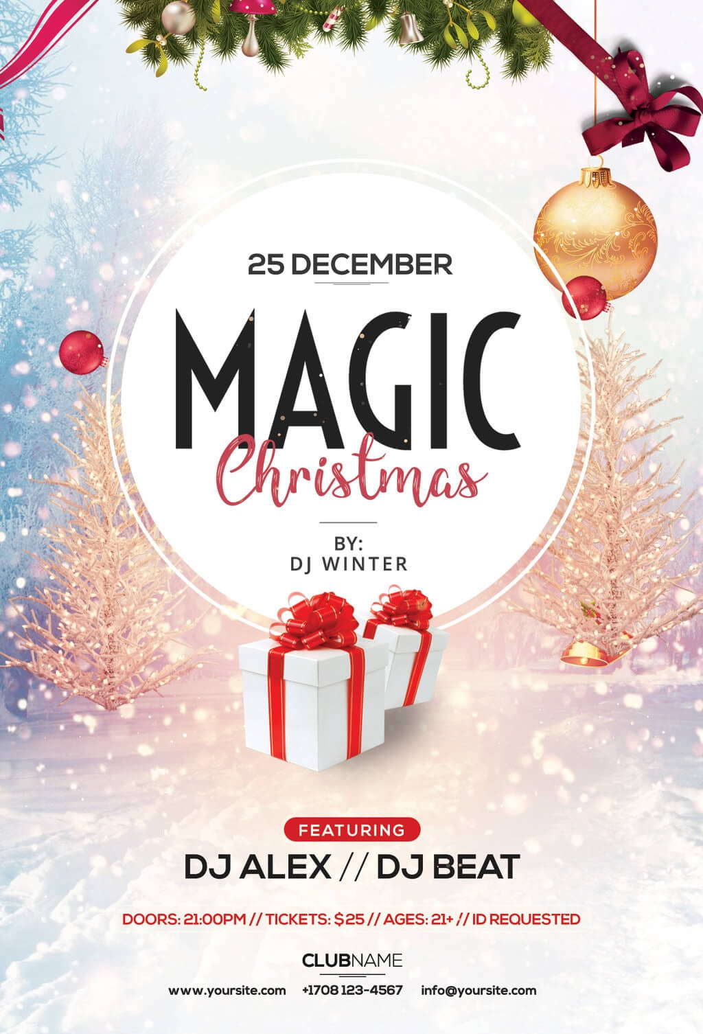 Magic Christmas Free Psd Flyer Template   Freebiedesign Throughout Christmas Brochure Templates Free