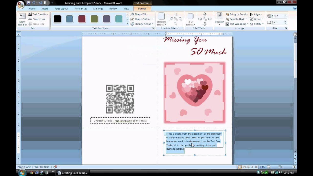 Make A Greeting Card In Word – Calep.midnightpig.co Inside Birthday Card Indesign Template