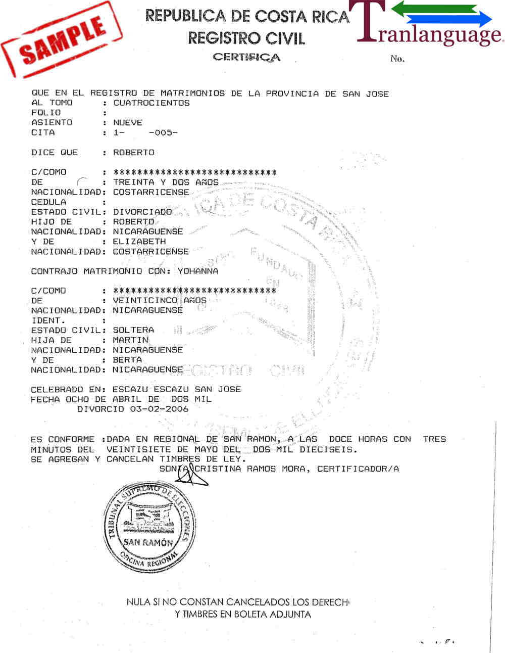 Marriage Certificate Costa Rica With Marriage Certificate Translation From Spanish To English Template